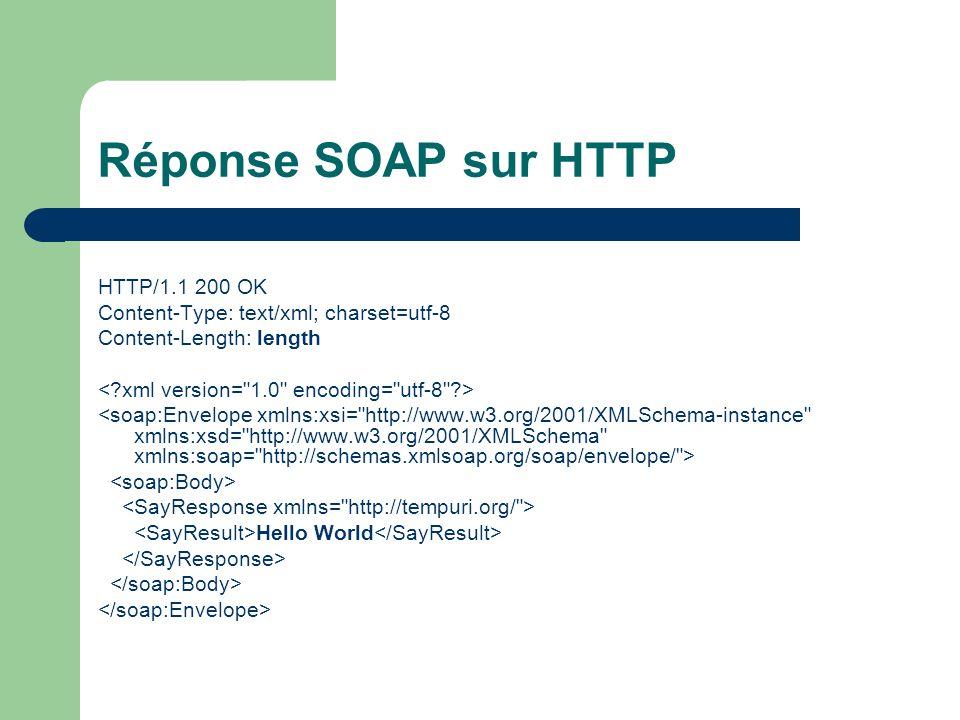 Réponse SOAP sur HTTP HTTP/1.1 200 OK Content-Type: text/xml; charset=utf-8 Content-Length: length Hello World