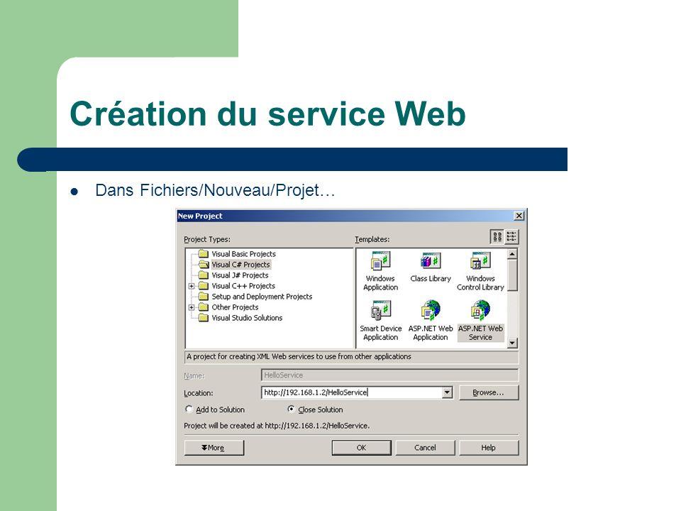 Création du service Web Renommer Service1.asmx pour Hello.asmx et changer la définition de lobjet: