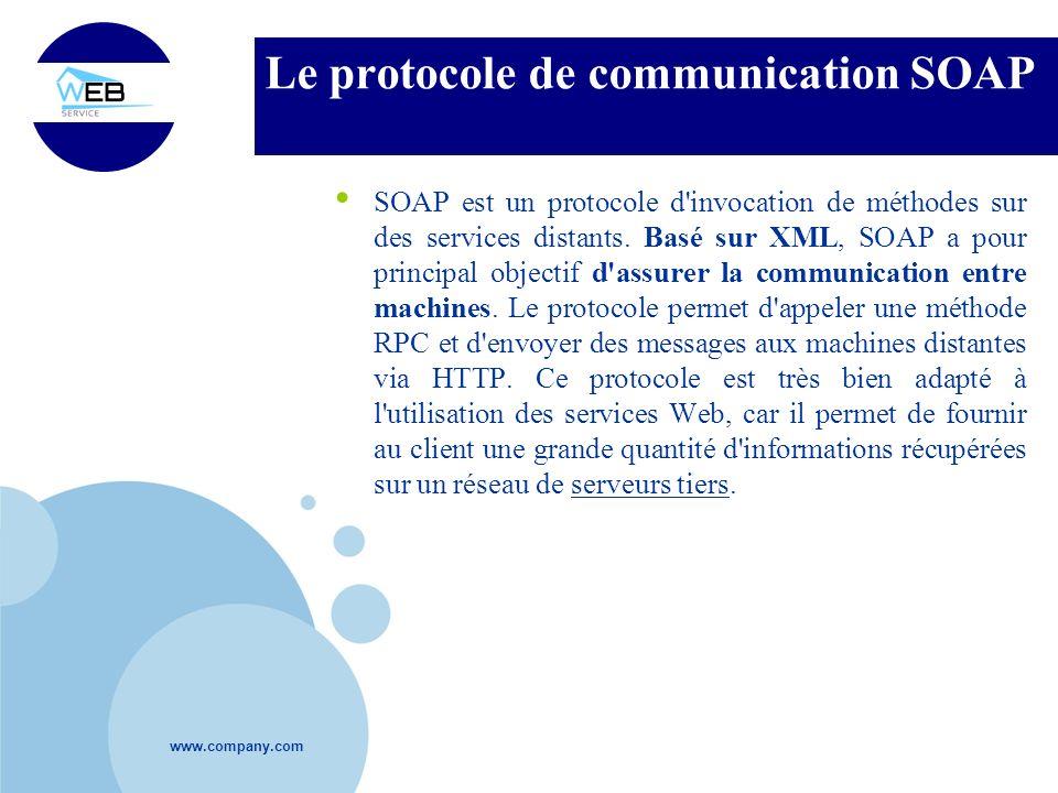www.company.com Le protocole de communication SOAP SOAP est un protocole d'invocation de méthodes sur des services distants. Basé sur XML, SOAP a pour