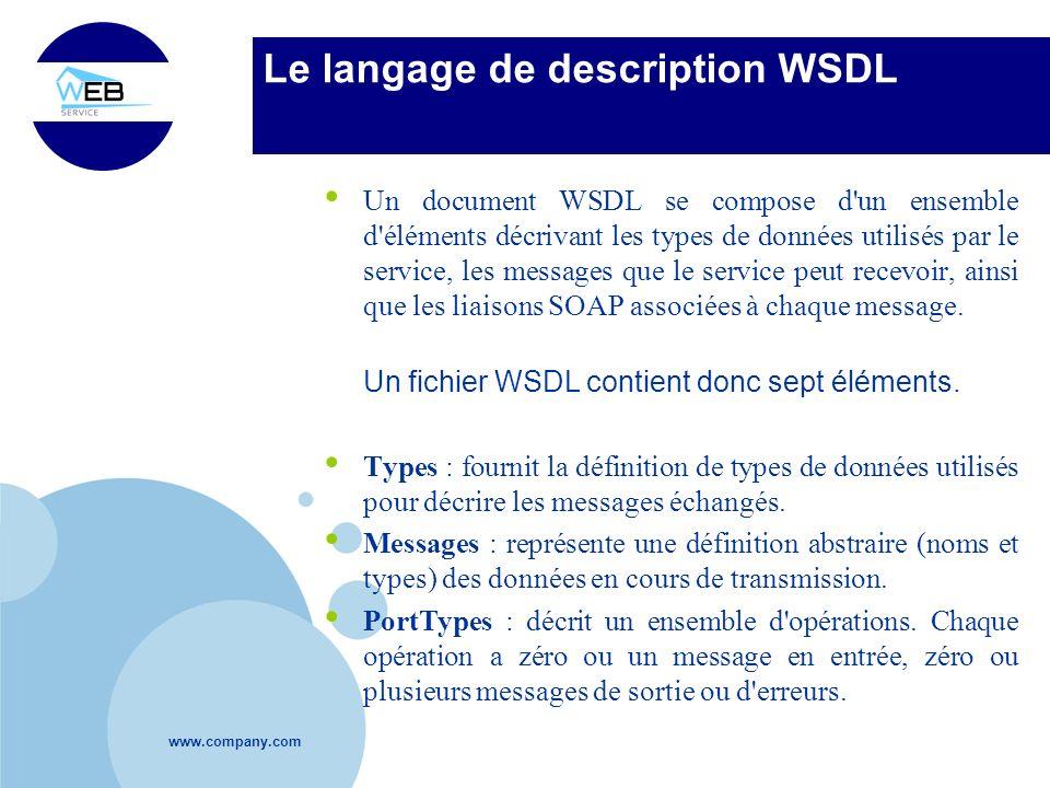 www.company.com Le langage de description WSDL Un document WSDL se compose d'un ensemble d'éléments décrivant les types de données utilisés par le ser