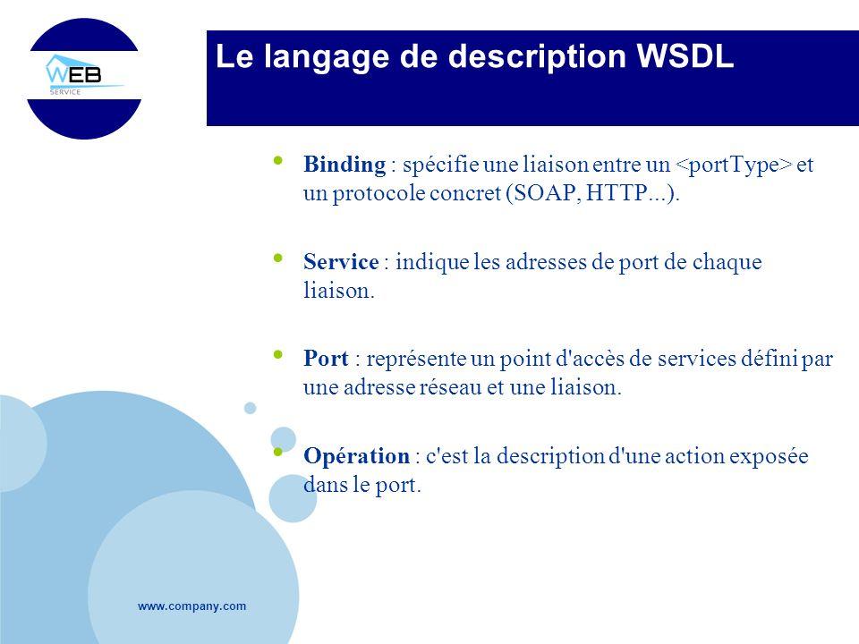www.company.com Le langage de description WSDL Binding : spécifie une liaison entre un et un protocole concret (SOAP, HTTP...). Service : indique les