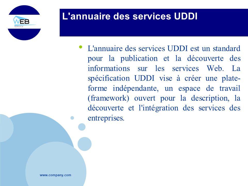 www.company.com L'annuaire des services UDDI L'annuaire des services UDDI est un standard pour la publication et la découverte des informations sur le