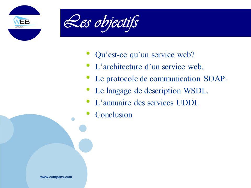 www.company.com Les objectifs Quest-ce quun service web? Larchitecture dun service web. Le protocole de communication SOAP. Le langage de description