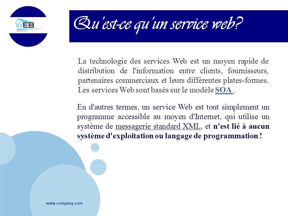 www.company.com Quest-ce quun service web? La technologie des services Web est un moyen rapide de distribution de l'information entre clients, fournis