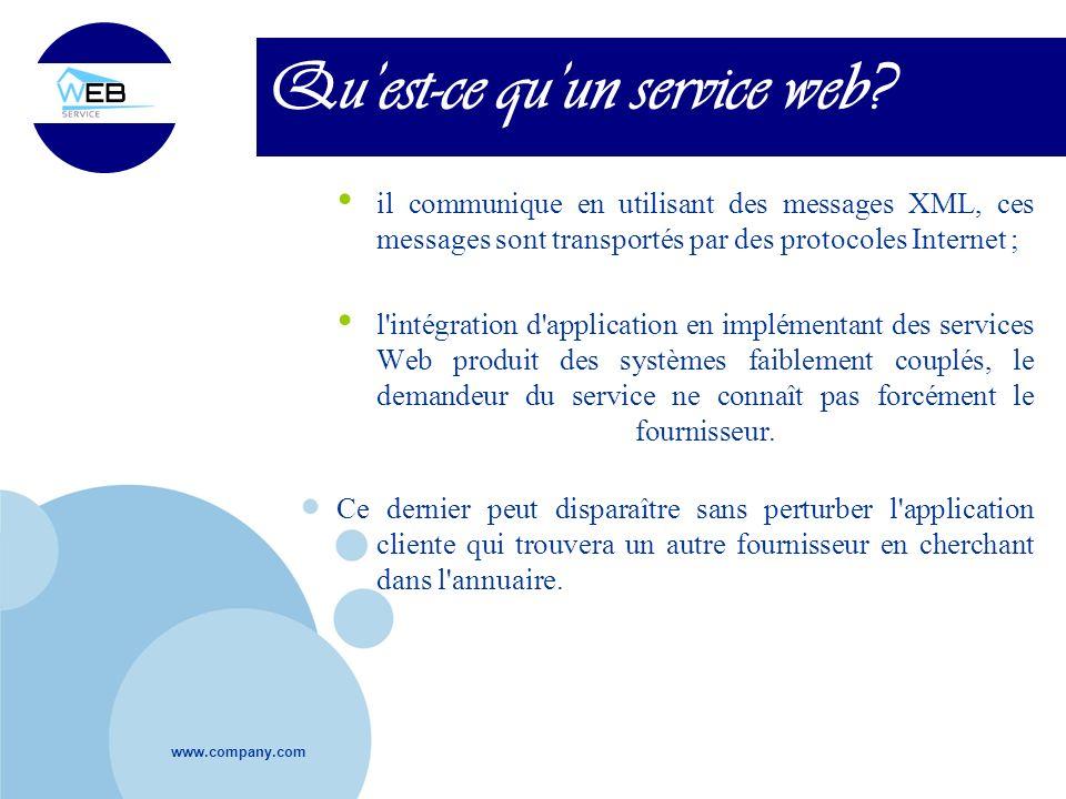 www.company.com Quest-ce quun service web? il communique en utilisant des messages XML, ces messages sont transportés par des protocoles Internet ; l'