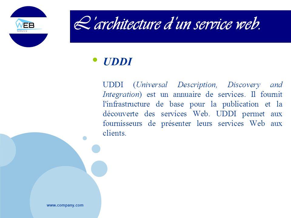 www.company.com Larchitecture dun service web. UDDI UDDI (Universal Description, Discovery and Integration) est un annuaire de services. Il fournit l'
