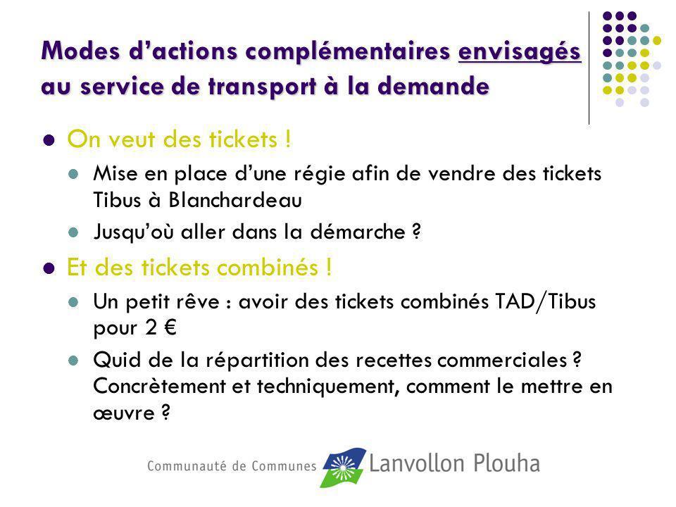 Modes dactions complémentaires envisagés au service de transport à la demande On veut des tickets ! Mise en place dune régie afin de vendre des ticket