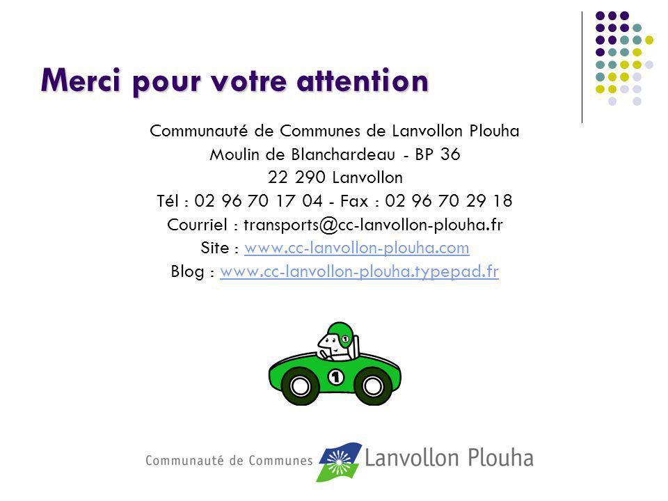 Merci pour votre attention Communauté de Communes de Lanvollon Plouha Moulin de Blanchardeau - BP 36 22 290 Lanvollon Tél : 02 96 70 17 04 - Fax : 02