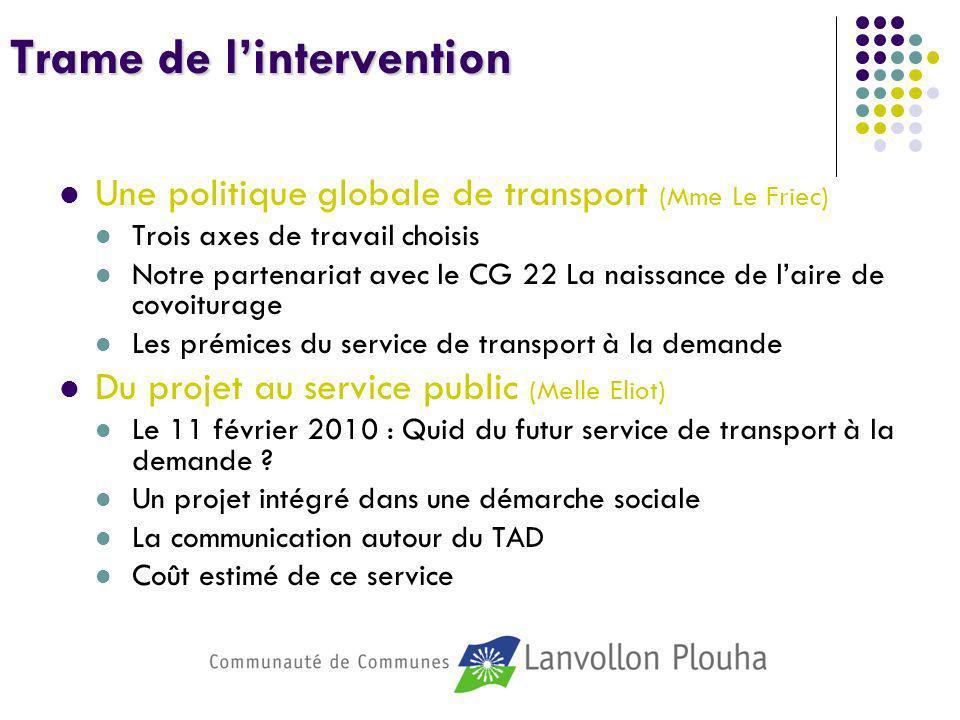 Trame de lintervention Une politique globale de transport (Mme Le Friec) Trois axes de travail choisis Notre partenariat avec le CG 22 La naissance de