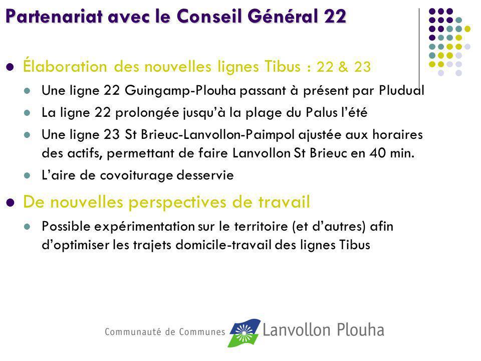 Partenariat avec le Conseil Général 22 Élaboration des nouvelles lignes Tibus : 22 & 23 Une ligne 22 Guingamp-Plouha passant à présent par Pludual La
