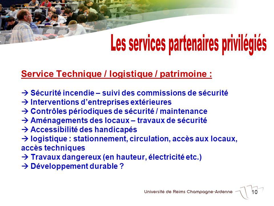 10 Service Technique / logistique / patrimoine : Sécurité incendie – suivi des commissions de sécurité Interventions dentreprises extérieures Contrôle