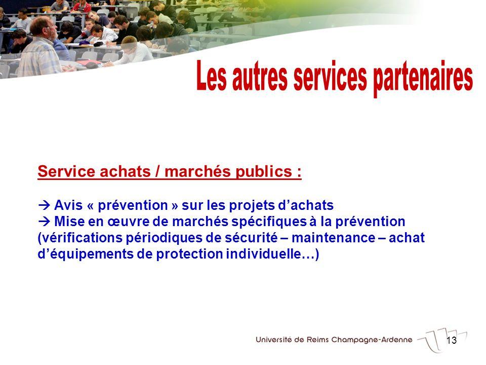 13 Service achats / marchés publics : Avis « prévention » sur les projets dachats Mise en œuvre de marchés spécifiques à la prévention (vérifications
