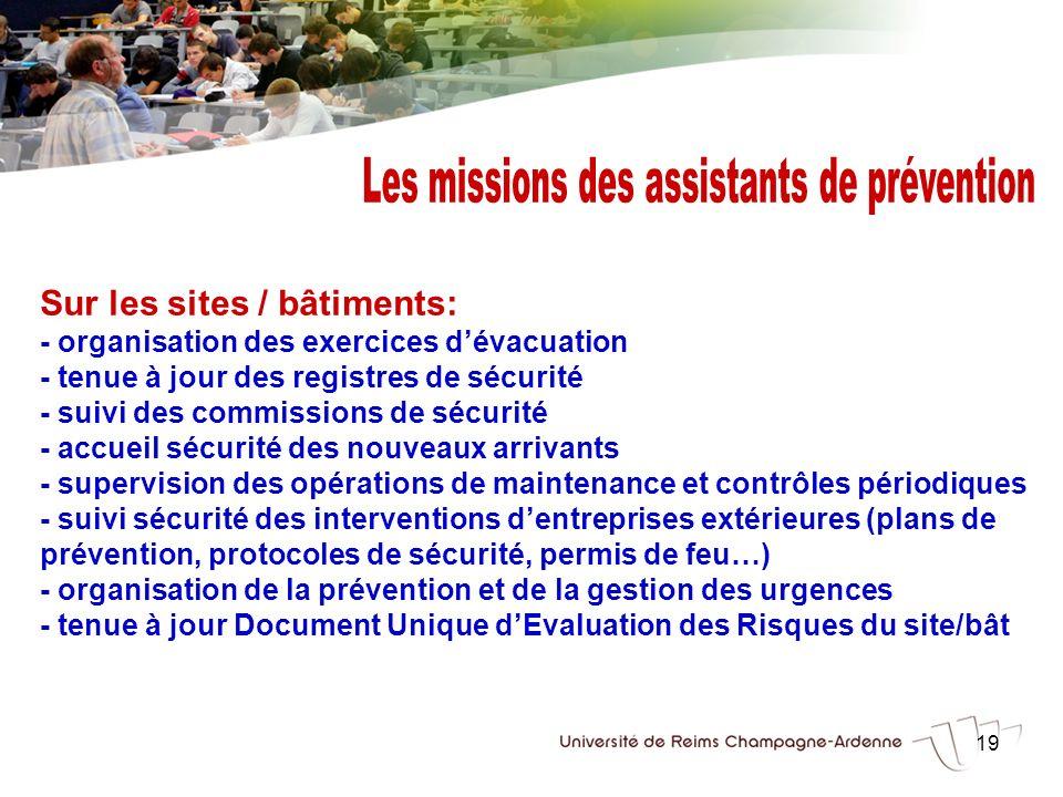 19 Sur les sites / bâtiments: - organisation des exercices dévacuation - tenue à jour des registres de sécurité - suivi des commissions de sécurité -