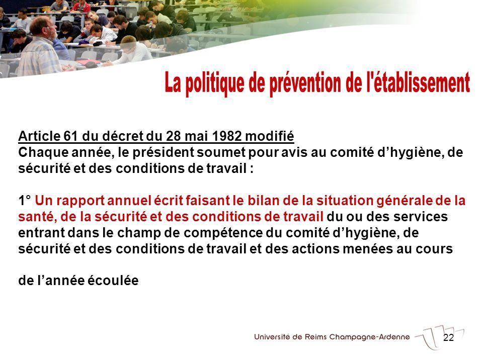 22 Article 61 du décret du 28 mai 1982 modifié Chaque année, le président soumet pour avis au comité dhygiène, de sécurité et des conditions de travai