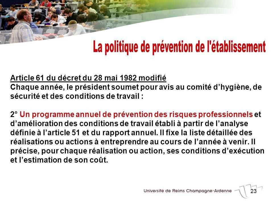 23 Article 61 du décret du 28 mai 1982 modifié Chaque année, le président soumet pour avis au comité dhygiène, de sécurité et des conditions de travai