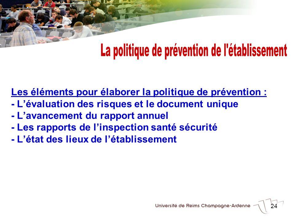 24 Les éléments pour élaborer la politique de prévention : - Lévaluation des risques et le document unique - Lavancement du rapport annuel - Les rappo