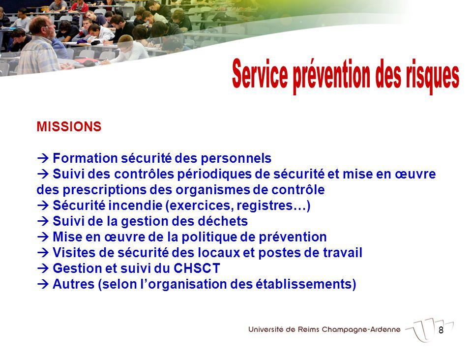 8 MISSIONS Formation sécurité des personnels Suivi des contrôles périodiques de sécurité et mise en œuvre des prescriptions des organismes de contrôle