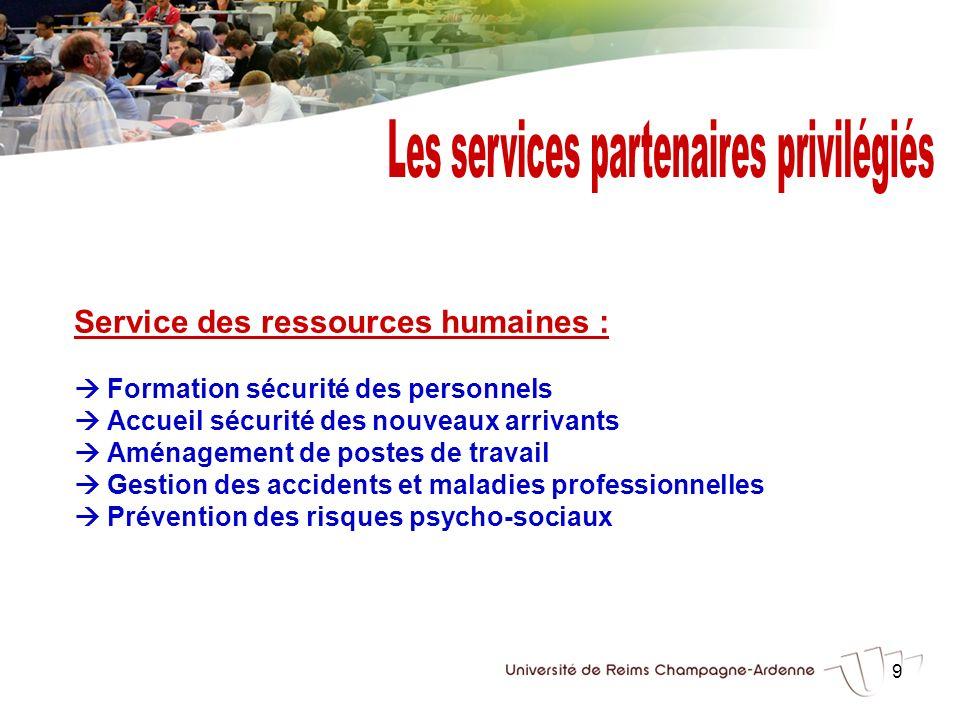 9 Service des ressources humaines : Formation sécurité des personnels Accueil sécurité des nouveaux arrivants Aménagement de postes de travail Gestion