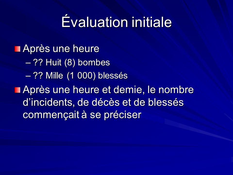 Évaluation initiale Après une heure – . Huit (8) bombes – .