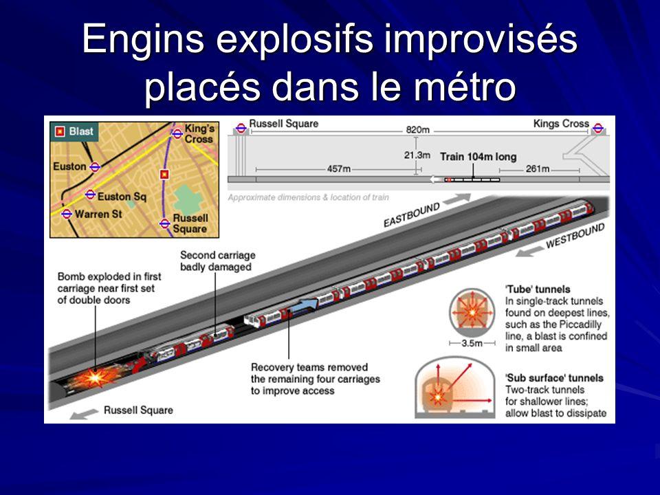 Engins explosifs improvisés placés dans le métro