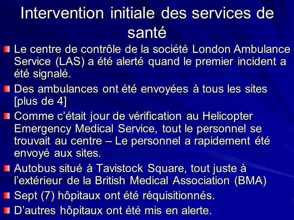 Intervention initiale des services de santé Le centre de contrôle de la société London Ambulance Service (LAS) a été alerté quand le premier incident a été signalé.