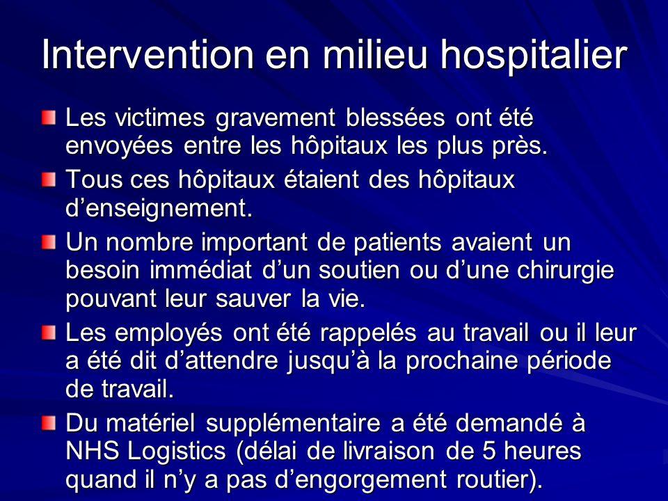 Intervention en milieu hospitalier Les victimes gravement blessées ont été envoyées entre les hôpitaux les plus près.