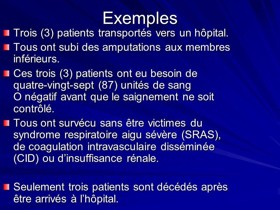 Exemples Trois (3) patients transportés vers un hôpital.