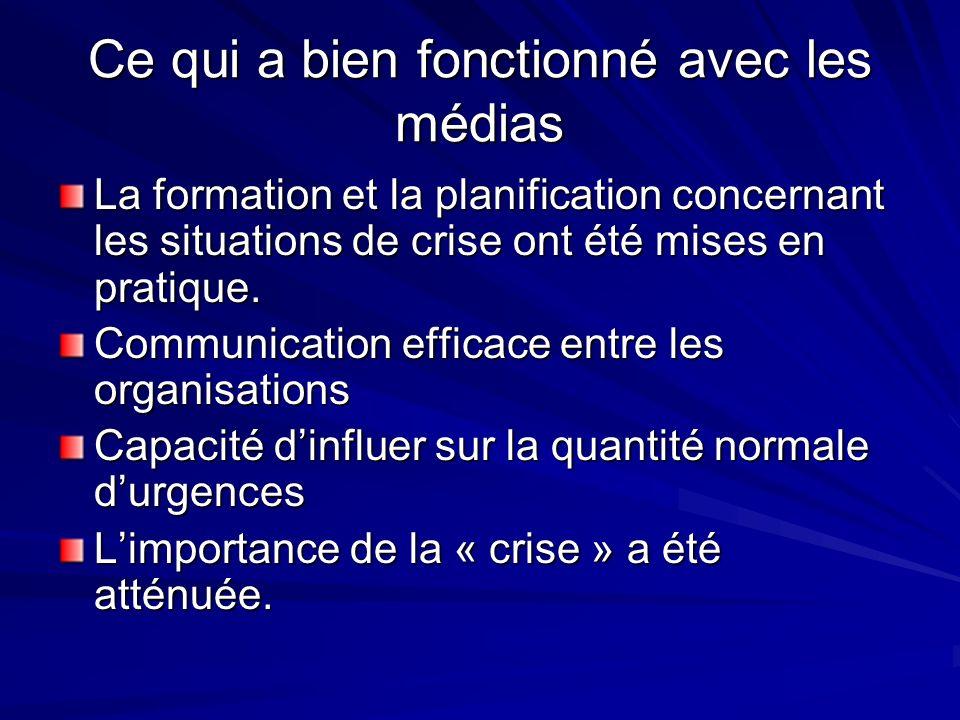 Ce qui a bien fonctionné avec les médias La formation et la planification concernant les situations de crise ont été mises en pratique.