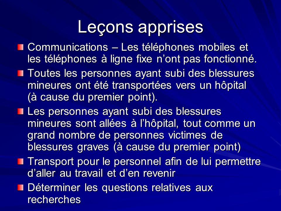 Leçons apprises Communications – Les téléphones mobiles et les téléphones à ligne fixe nont pas fonctionné.