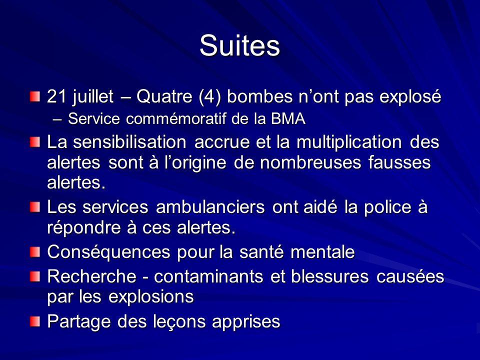 Suites 21 juillet – Quatre (4) bombes nont pas explosé –Service commémoratif de la BMA La sensibilisation accrue et la multiplication des alertes sont à lorigine de nombreuses fausses alertes.