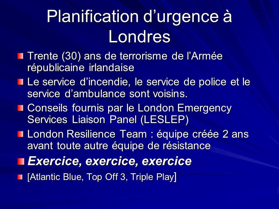Planification durgence à Londres Trente (30) ans de terrorisme de lArmée républicaine irlandaise Le service dincendie, le service de police et le service dambulance sont voisins.