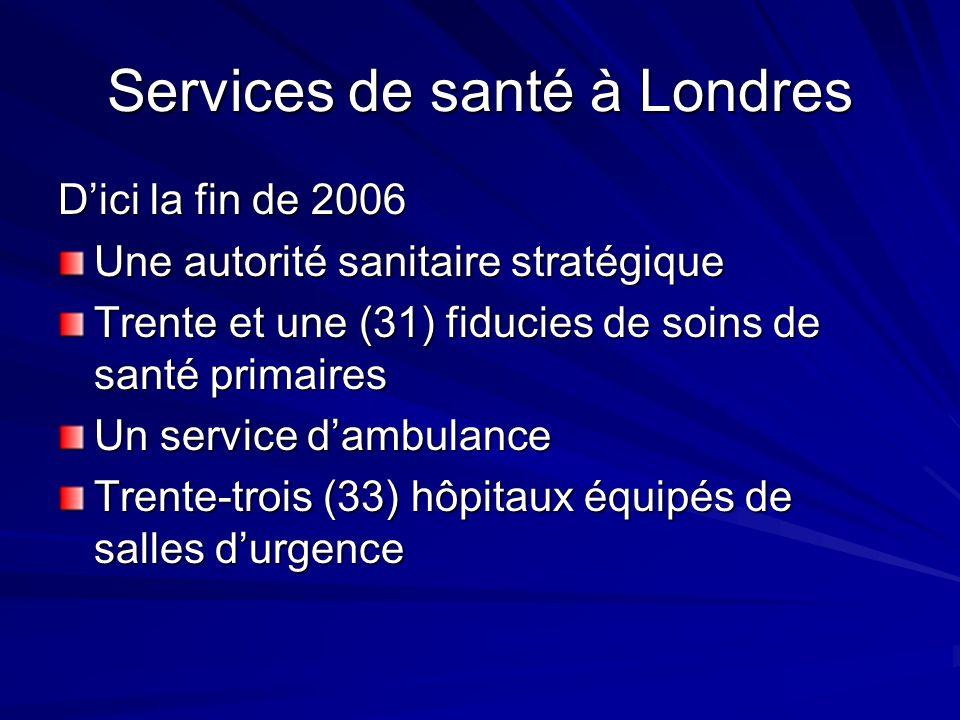 Services de santé à Londres Dici la fin de 2006 Une autorité sanitaire stratégique Trente et une (31) fiducies de soins de santé primaires Un service dambulance Trente-trois (33) hôpitaux équipés de salles durgence