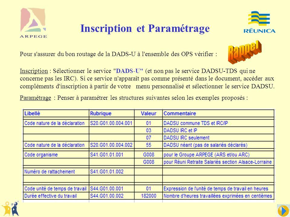 Inscription : Sélectionner le service DADS-U (et non pas le service DADSU-TDS qui ne concerne pas les IRC).
