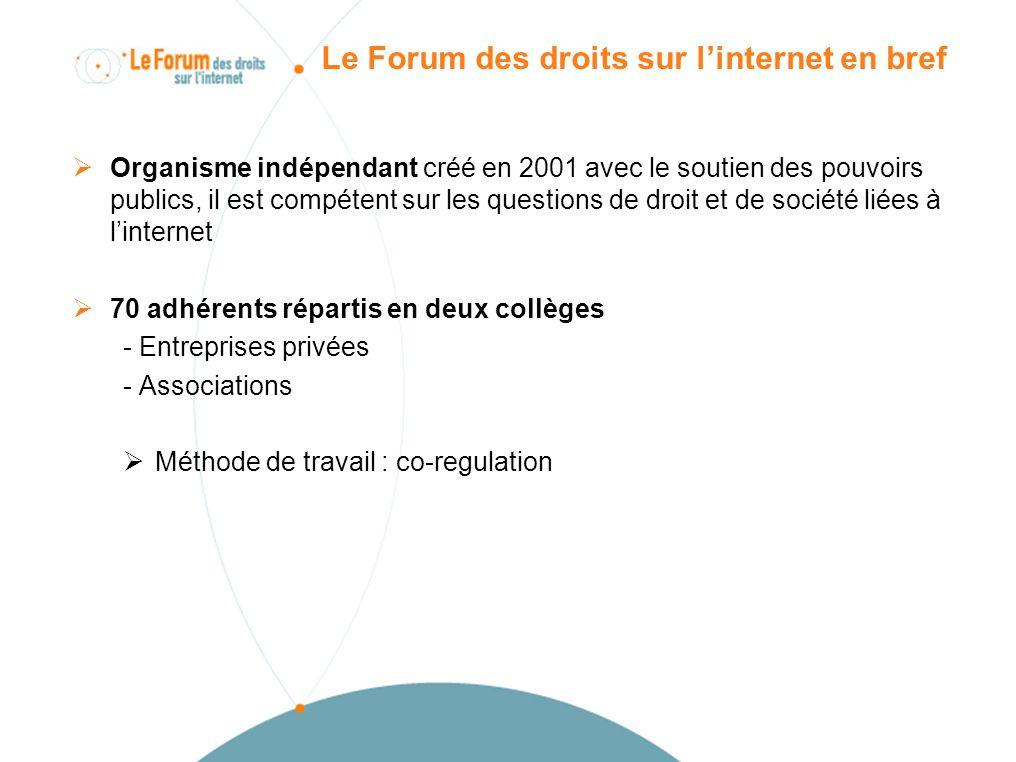 Le Forum des droits sur linternet en bref Organisme indépendant créé en 2001 avec le soutien des pouvoirs publics, il est compétent sur les questions de droit et de société liées à linternet 70 adhérents répartis en deux collèges - Entreprises privées - Associations Méthode de travail : co-regulation