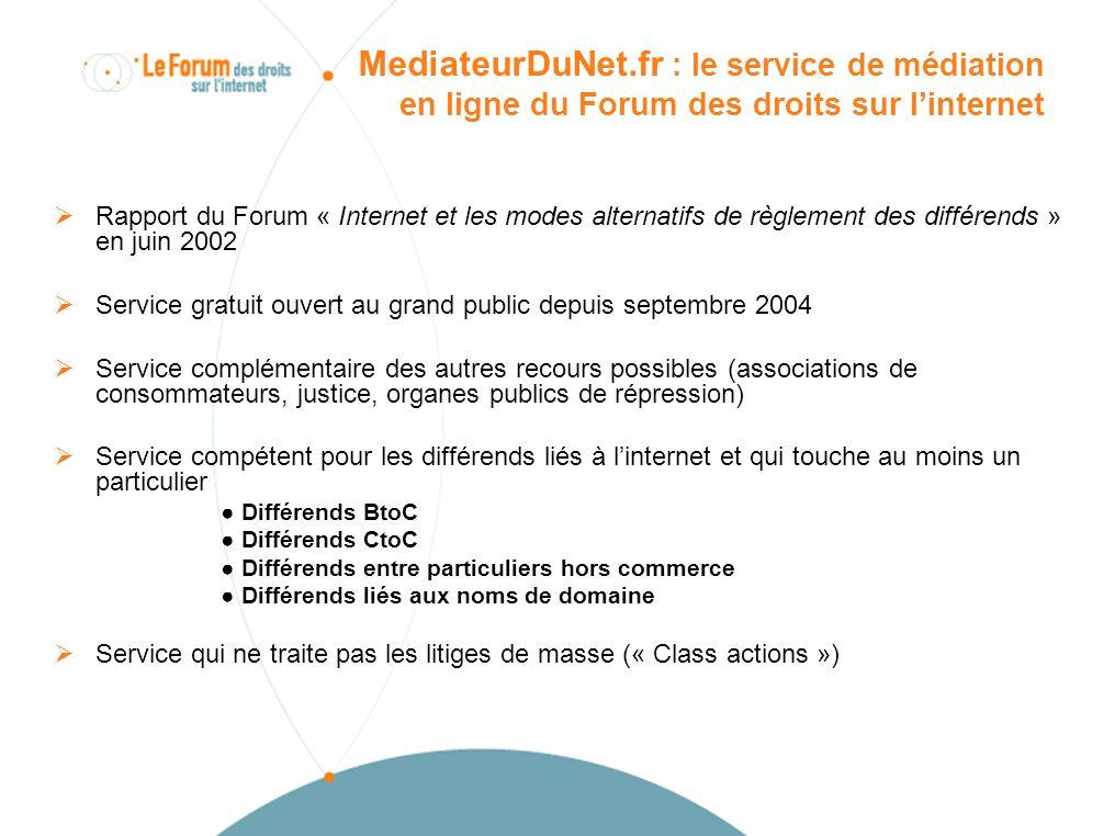 Les points forts de MediateurDuNet.fr Indépendance Méthode : online dispute resolution Plate-forme logicielle bien adaptée