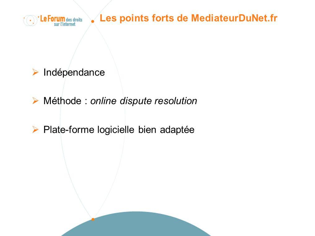 Conclusions sur le service et sa méthode (I) Service utile confronté à une forte demande Méthode online de résolution amiable bien adaptée aux litiges internet Besoin des personnes dun dispositif simple, gratuit, rapide Médiation devient en France un troisième niveau de recours