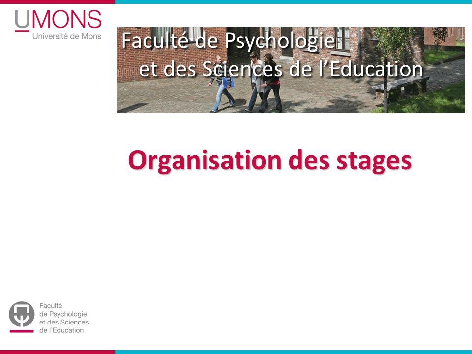 Faculté de Psychologie et des Sciences de lEducation Organisation des stages