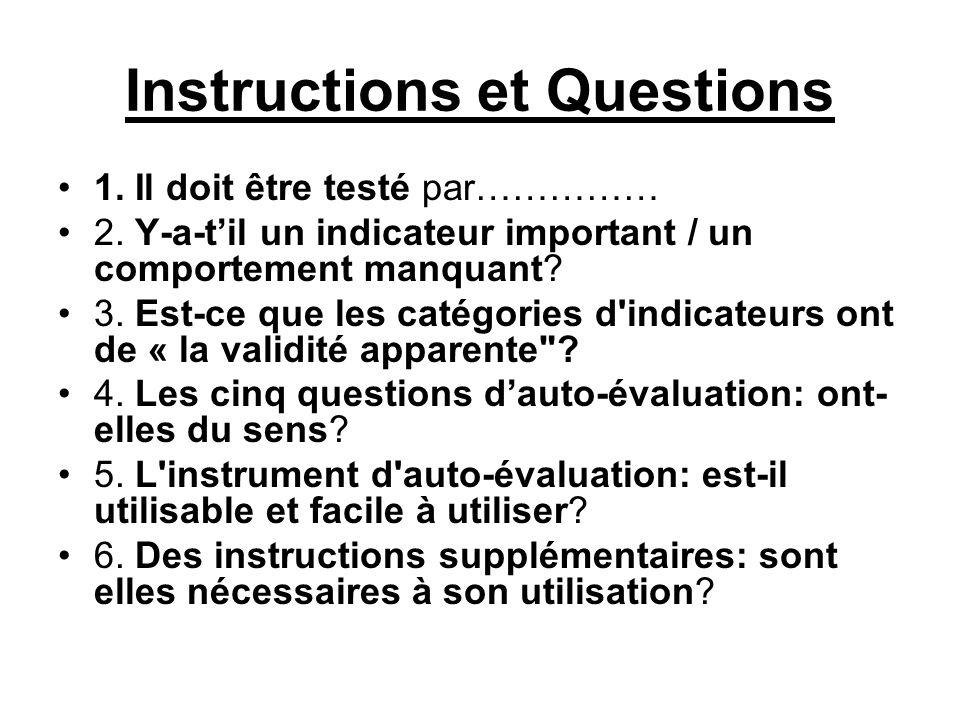 Instructions et Questions 1.Il doit être testé par…………… 2.