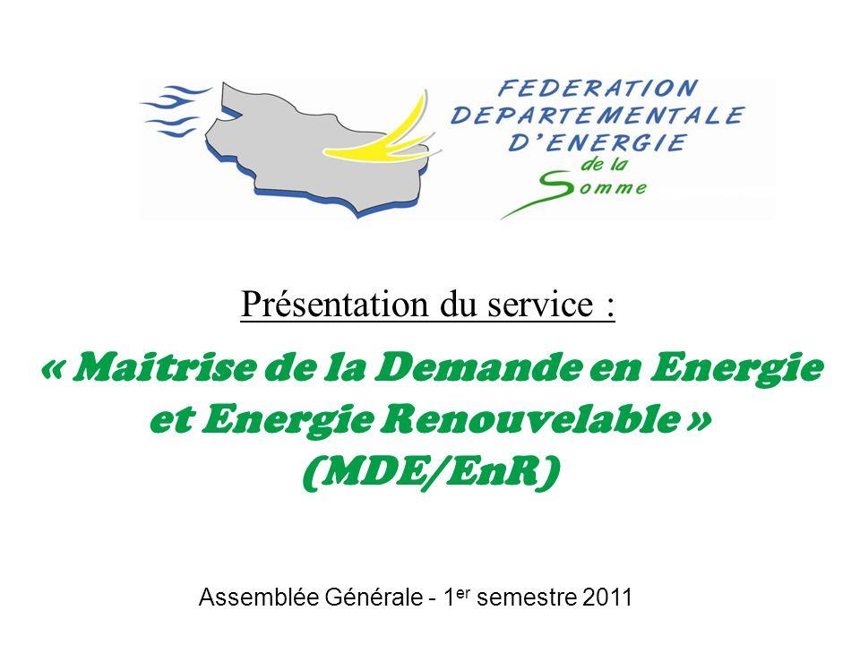 Présentation du service : « Maitrise de la Demande en Energie et Energie Renouvelable » (MDE/EnR) Assemblée Générale - 1 er semestre 2011