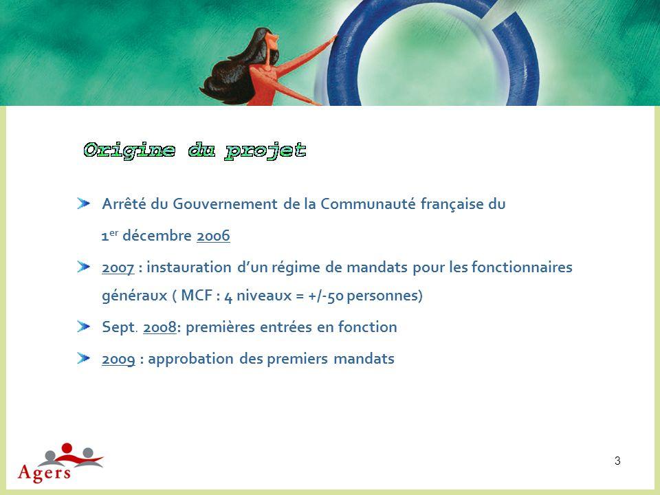 3 Arrêté du Gouvernement de la Communauté française du 1 er décembre 2006 2007 : instauration dun régime de mandats pour les fonctionnaires généraux (