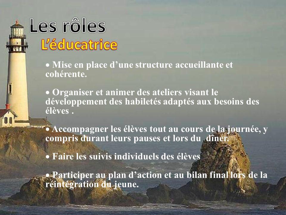 Mise en place dune structure accueillante et cohérente. Organiser et animer des ateliers visant le développement des habiletés adaptés aux besoins des