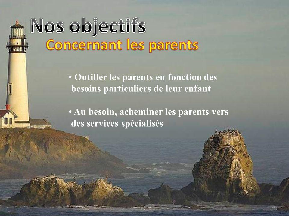 Outiller les parents en fonction des besoins particuliers de leur enfant Au besoin, acheminer les parents vers des services spécialisés