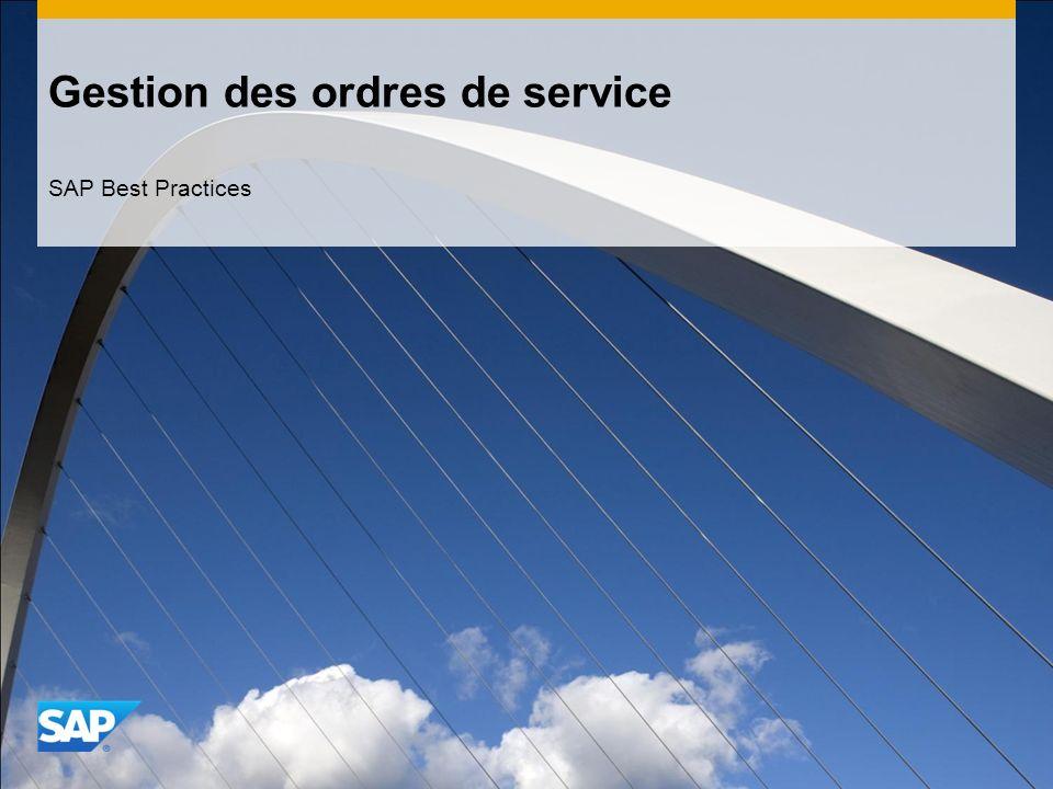 Gestion des ordres de service SAP Best Practices