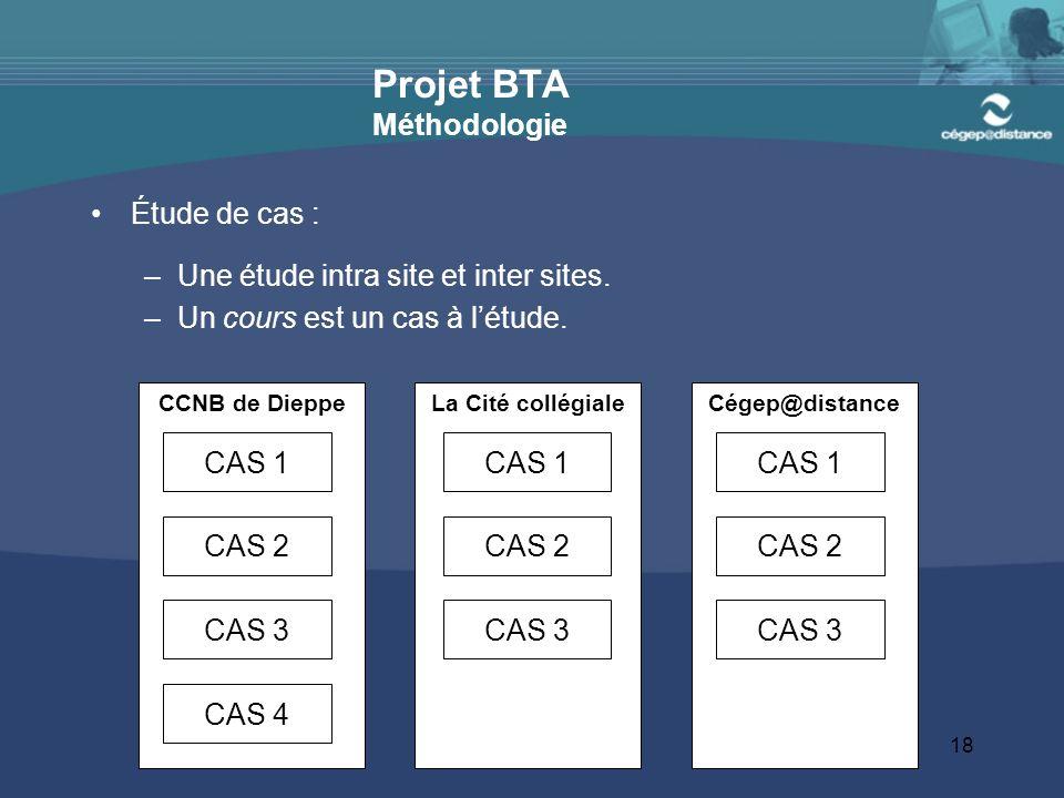 18 Projet BTA Méthodologie Étude de cas : –Une étude intra site et inter sites.