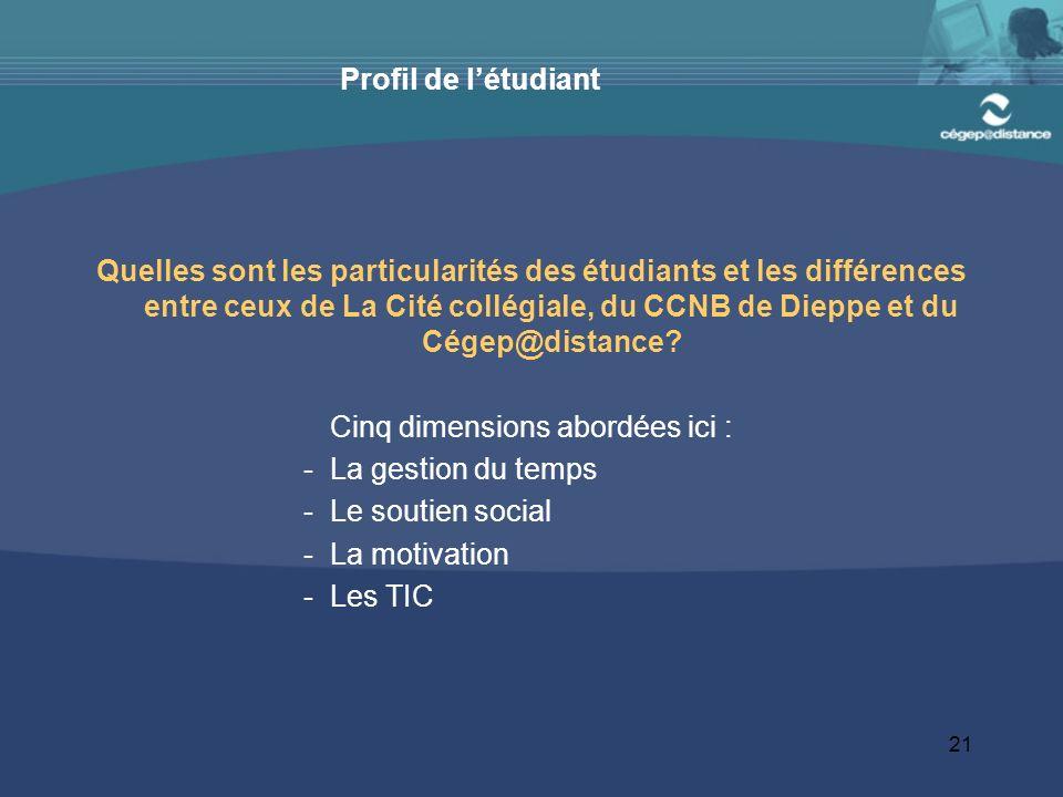 21 Profil de létudiant Quelles sont les particularités des étudiants et les différences entre ceux de La Cité collégiale, du CCNB de Dieppe et du Cégep@distance.