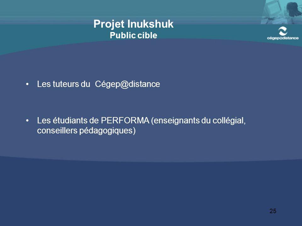 25 Projet Inukshuk Public cible Les tuteurs du Cégep@distance Les étudiants de PERFORMA (enseignants du collégial, conseillers pédagogiques)
