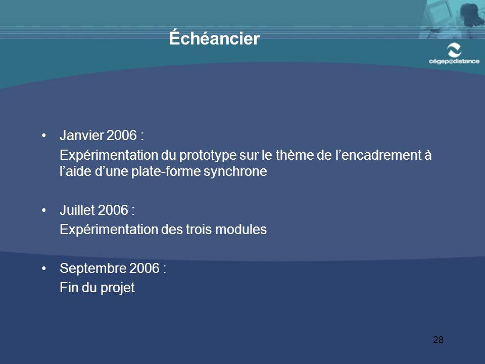 28 Échéancier Janvier 2006 : Expérimentation du prototype sur le thème de lencadrement à laide dune plate-forme synchrone Juillet 2006 : Expérimentation des trois modules Septembre 2006 : Fin du projet