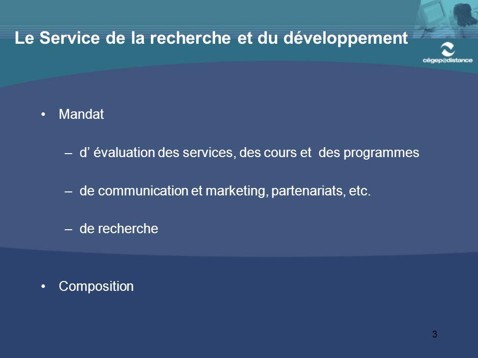 3 Le Service de la recherche et du développement Mandat –d évaluation des services, des cours et des programmes –de communication et marketing, partenariats, etc.