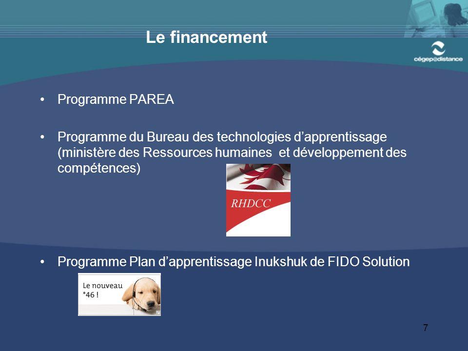 7 Le financement Programme PAREA Programme du Bureau des technologies dapprentissage (ministère des Ressources humaines et développement des compétences) Programme Plan dapprentissage Inukshuk de FIDO Solution