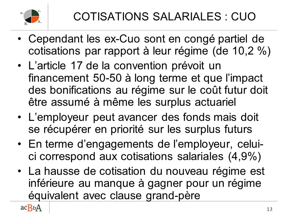 13 COTISATIONS SALARIALES : CUO Cependant les ex-Cuo sont en congé partiel de cotisations par rapport à leur régime (de 10,2 %) Larticle 17 de la conv